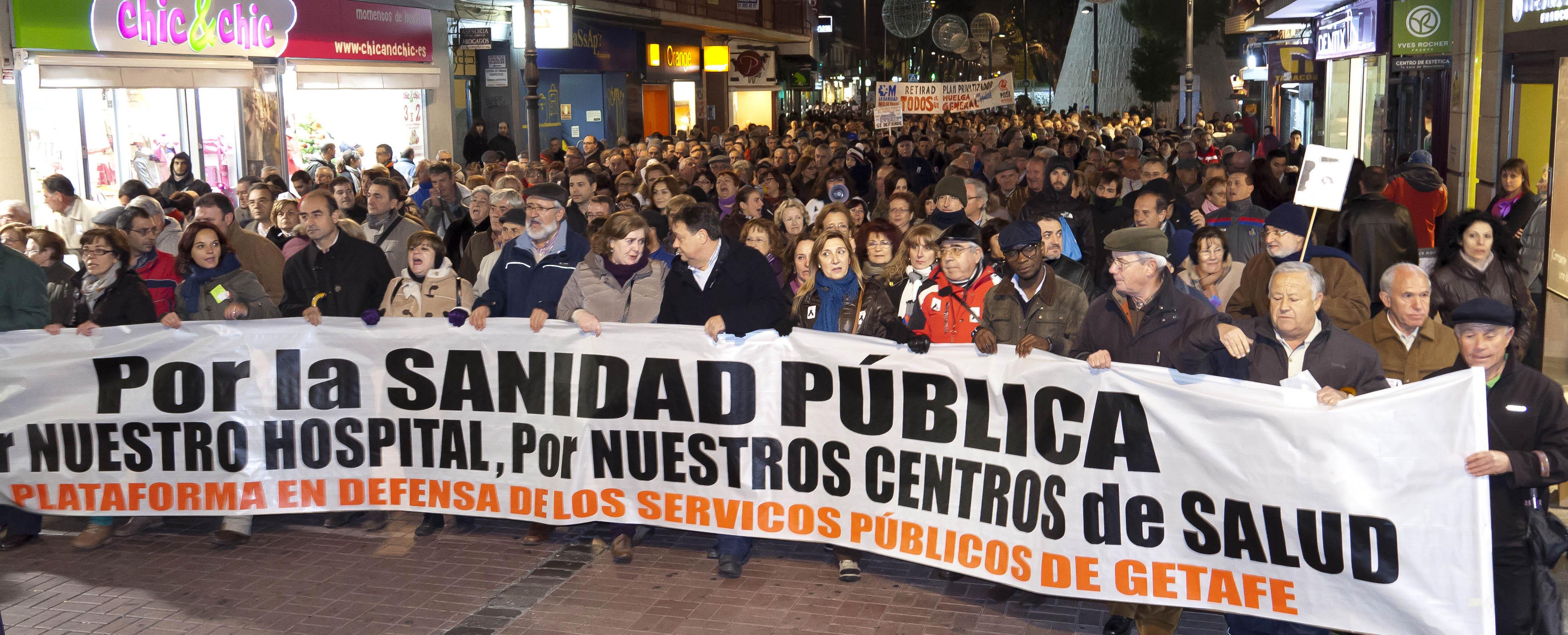 Getafe se echó ayer a la calle en defensa del sistema público de salud