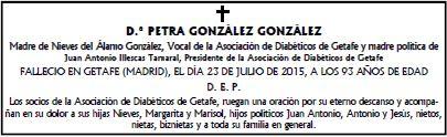 Ha fallecido D.ª Petra González González
