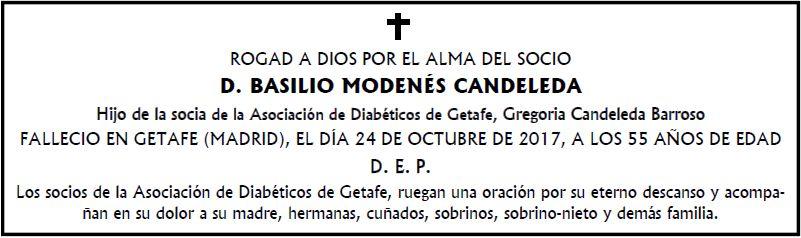 Ha fallecido el socio Basilio Modenés Candeleda
